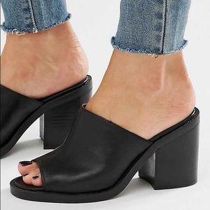 ASOS New Look Black Chunky Vegan Leather Mules
